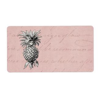 Rosa del ejemplo de la piña de los 1800s del etiquetas de envío