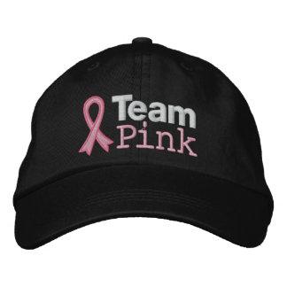 Rosa del equipo del cáncer de pecho gorras bordadas