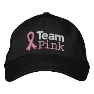 Rosa del equipo del cáncer de pecho gorra de béisbol bordada