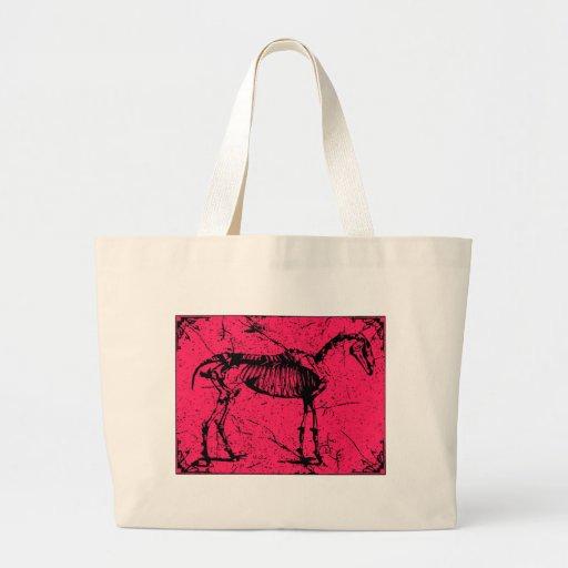Rosa del esqueleto del caballo bolsas lienzo