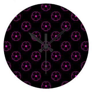 Rosa del estampado de plores 1 reloj redondo grande