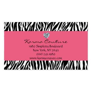 rosa del estampado de zebra con el diamante en tarjetas de visita