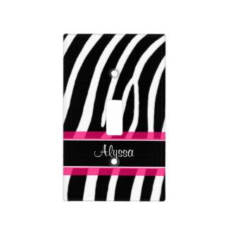 Rosa del estampado de zebra personalizado placa para interruptor