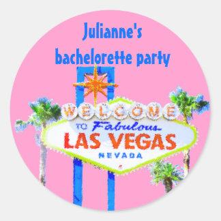 Rosa del fiesta de Las Vegas Bachelorette Pegatina Redonda