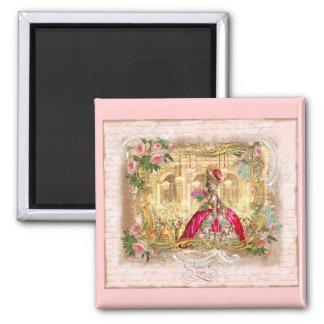 Rosa del fiesta de Marie Antonieta Versalles Imán Cuadrado