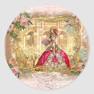 Rosa del fiesta de Marie Antonieta Versalles Pegatina Redonda