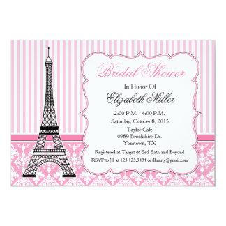 """Rosa del fiesta del tema de la torre Eiffel de Invitación 5"""" X 7"""""""