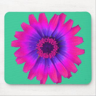 Rosa del flower power con el fondo verde tapete de ratón