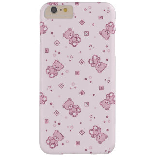Rosa del fondo de los osos de peluche funda para iPhone 6 plus barely there