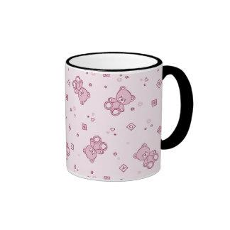 Rosa del fondo de los osos de peluche taza de dos colores