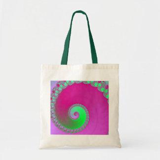 Rosa del fractal del caracol bolsas de mano