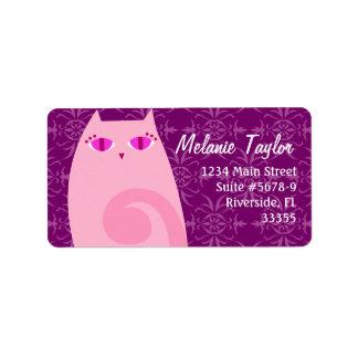 Rosa del gatito y etiqueta bonitos de la violeta etiqueta de dirección