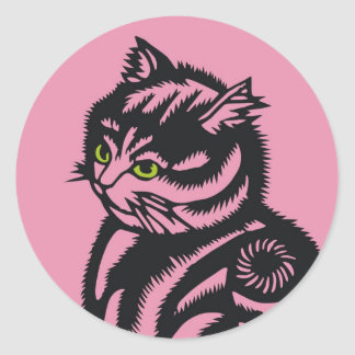 Rosa del gato de Katagami Pegatina Redonda