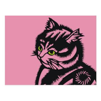 Rosa del gato de Katagami Postal
