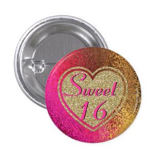 Rosa del Glitz y dulce 16 del oro Pin Redondo 2,5 Cm