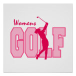 Rosa del golf de las mujeres poster