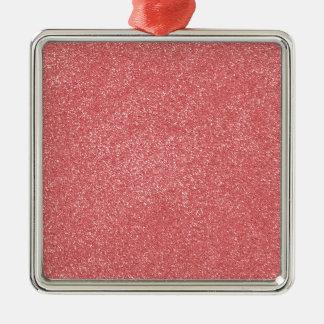 ROSA del hielo de la fresa de PANTONE con falso Adorno Cuadrado Plateado