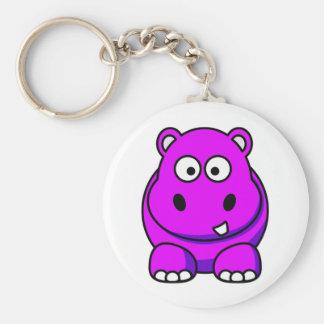 Rosa del hipopótamo llavero redondo tipo pin