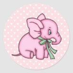 Rosa del juguete del elefante etiquetas