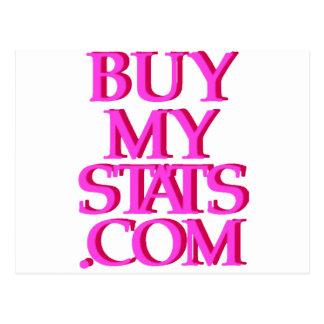 rosa del logotipo de BuyMyStats.com 3D con la Tarjetas Postales