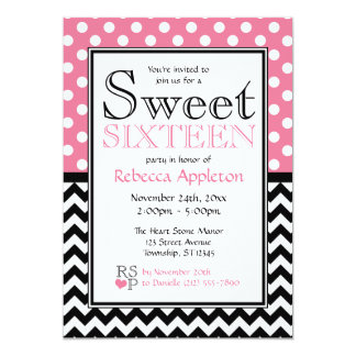 Rosa del lunar y invitaciones del dulce dieciséis comunicados personalizados