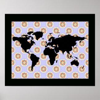 rosa del mapa del mundo y de compás póster