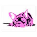 Rosa del mascota del dogo francés tarjeta postal