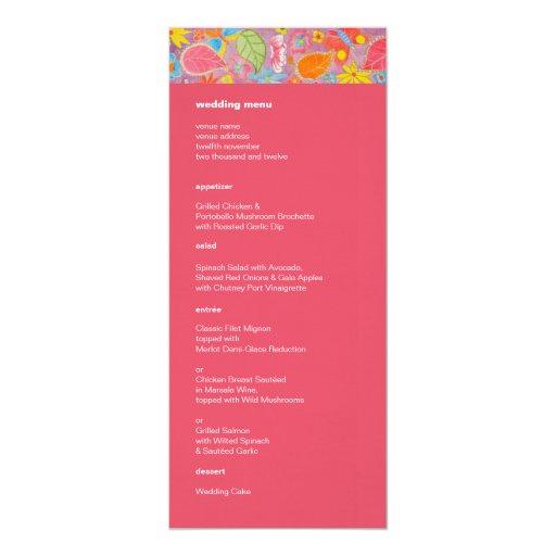 Rosa del menú del boda de Ganesh Invitación 10,1 X 23,5 Cm