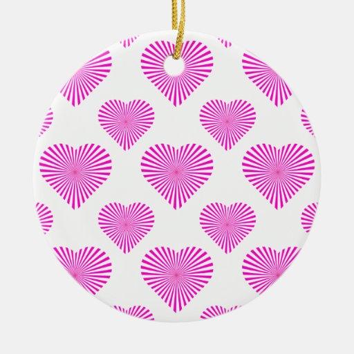 Rosa del modelo 1 del corazón de la estrella adorno navideño redondo de cerámica