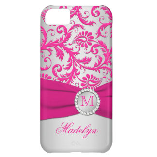 Rosa del monograma, caso de plata del iPhone 5 del Funda Para iPhone 5C