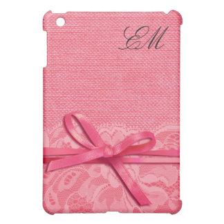 Rosa del monograma el | de la arpillera del cordón iPad mini cobertura