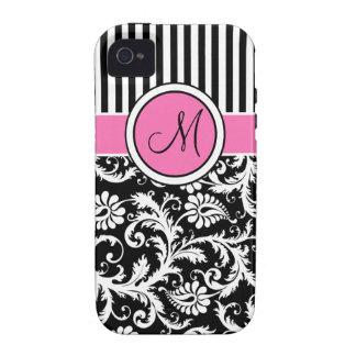 Rosa del monograma negro ambiente rayado blanco iPhone 4 fundas
