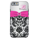 Rosa del monograma, negro, caso de plata del funda de iPhone 6 tough