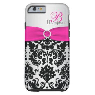 Rosa del monograma, negro, caso de plata del funda para iPhone 6 tough