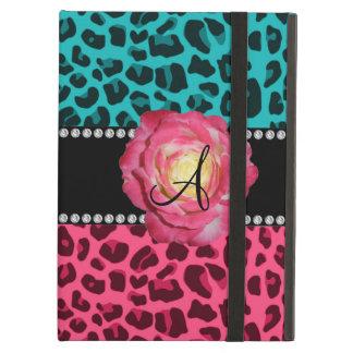 Rosa del monograma y modelo del leopardo de la