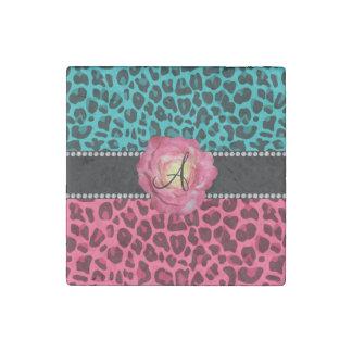 Rosa del monograma y modelo del leopardo de la imán de piedra
