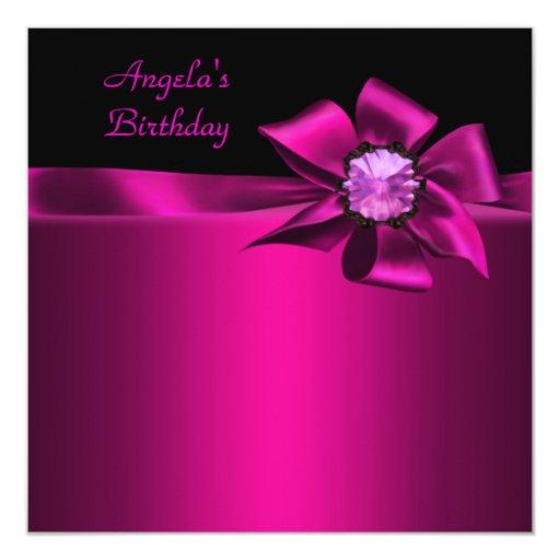 Rosa del negro del arco del rosa de la fiesta de invitación 13,3 cm x 13,3cm