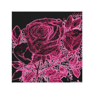 Rosa del neón de los rosas impresiones en lienzo estiradas
