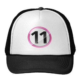 Rosa del número 11 gorras de camionero