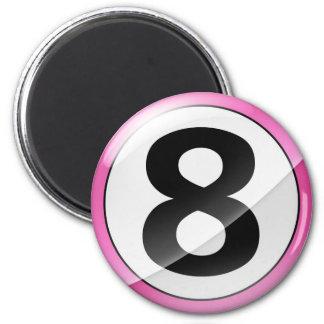 Rosa del número 8 imán redondo 5 cm