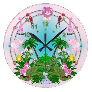 Rosa del onLight de la diversión de la selva Reloj Redondo Grande