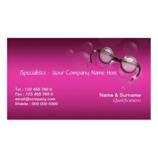 Rosa del óptico del optometrista elegante tarjeta de visita