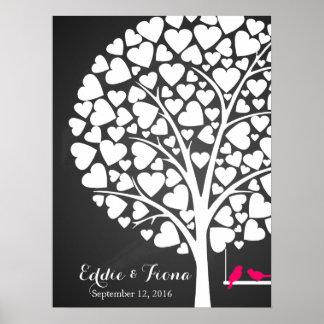 rosa del pájaro del árbol del libro de visitas del póster