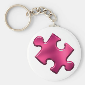 Rosa del pedazo del rompecabezas del autismo llaveros