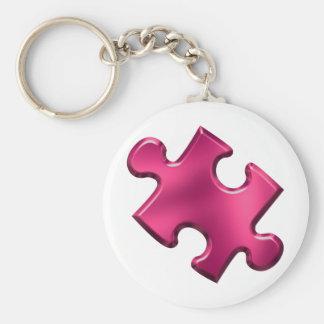 Rosa del pedazo del rompecabezas del autismo llavero redondo tipo pin