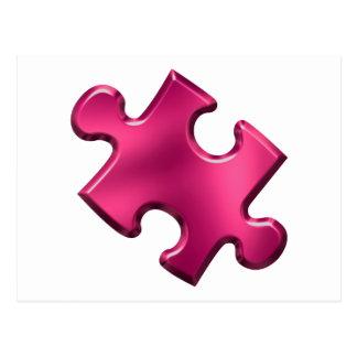 Rosa del pedazo del rompecabezas del autismo postal