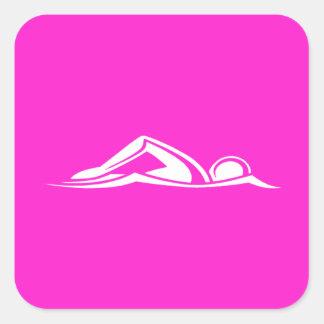 Rosa del pegatina del logotipo de la nadada
