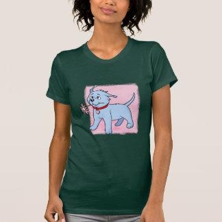 Rosa del perro de perrito más cuadrado - camiseta poleras