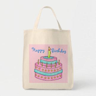 Rosa del personalizable de la torta del feliz bolsa tela para la compra