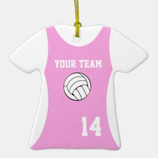 Rosa del personalizable del jersey del voleibol adorno de cerámica en forma de camiseta